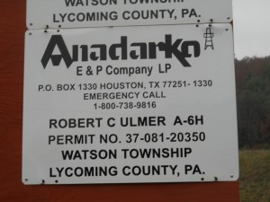 Anadarko fracking operations, Watson Township, Luzerne County, Pennsylvania