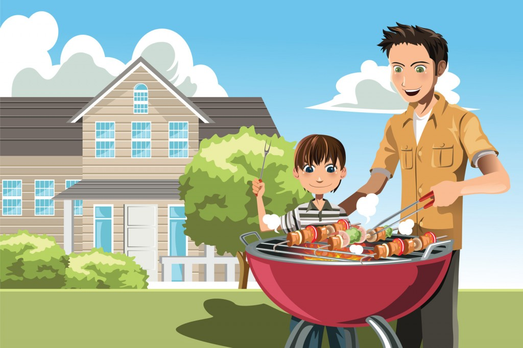 Father and Son Cartoon Barbeque