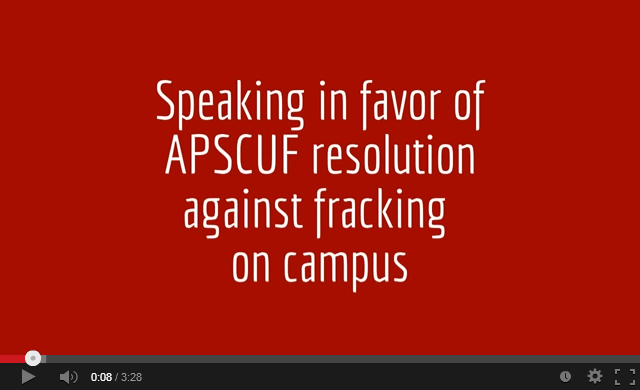 Speaking for APSCUF AntiFracking Resolution