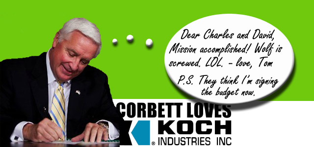Corbett Loves Koch Budget Sign