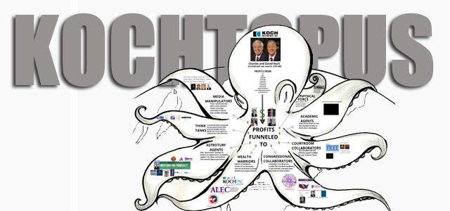 "Image Credit: Kochtopus graphic from report by International Forum on Globalization, ""Outing the Oligarchy,"" www.kochcash.org"