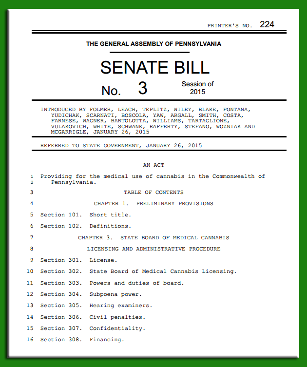 Senate Bill 3: An Act Providing for the medical use of cannabis in the Commonwealth of Pennsylvania