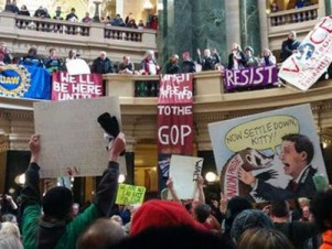 Day one of Wisconsin 2015 RTW protests. Photo credit: Jake Carlson, Twitter, @HJacobCarlson