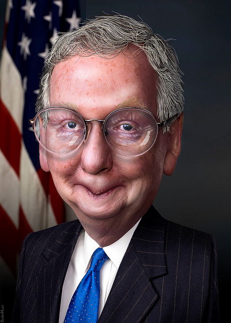 "Image credit: ""Mitch McConnell - Caricature,"" DonkeyHotey, Flickr"