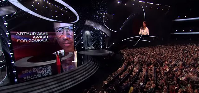 Photo credit: Screen capture, Caitlyn Jenner Accepts Arthur Ashe Courage Award, Caitly Jenner YouTube Channel
