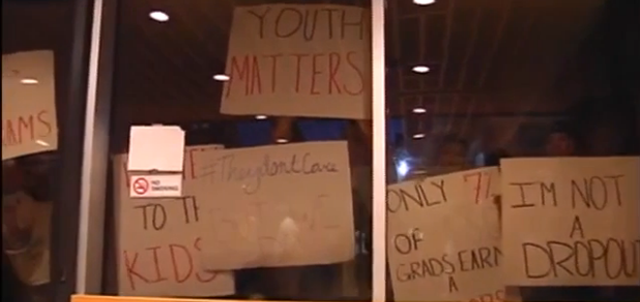 "Photo credit: Screen capture of WFMZ story, ""Students pack ASD board meeting in protest,"""