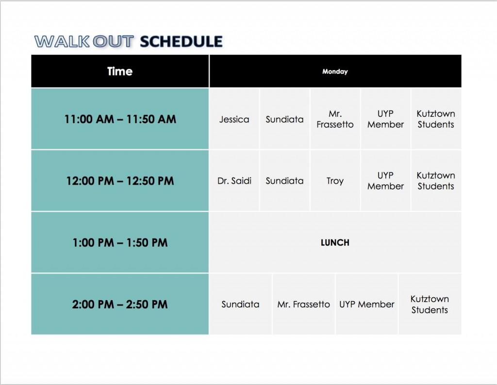 Teach-In Schedule Walkout