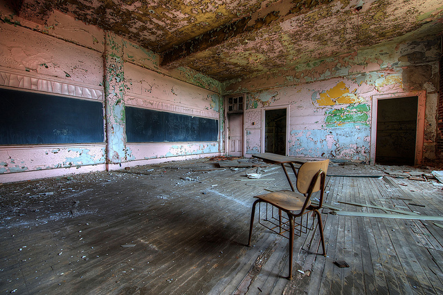 "Photo credit: Brook Ward, ""Abandoned School Classroom,"" Flickr"