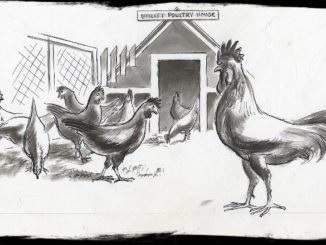 drawing of chickens in a yard